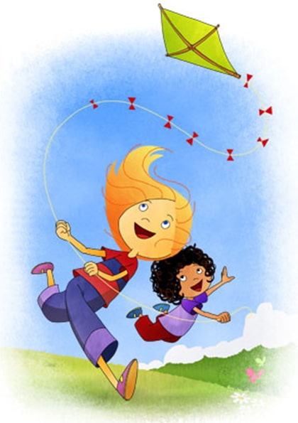 Milly and Molly flying a kite